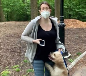 Amy Cooper was charged with filing a false report after she called police on a black man while walking her dog in Central Park on May 25, 2020. Christian Cooper, no relation, videotaped the dispute. (Photo/Christian Cooper via AP, File)