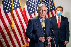 Senate Majority Leader Mitch McConnell, R-Ky., with Sen. John Barrasso, R-Wyo., speaks to reporters on Capitol Hill, in a Tuesday, June 30, 2020 photo, in Washington. Image: AP Photo/Manuel Balce Ceneta