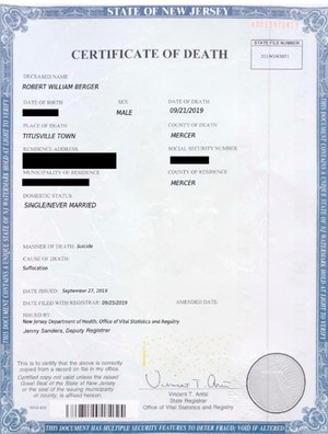 This image provided by the Nassau County District Attorney's office in Mineola, N.Y., shows a fake death certificate with some information redacted by the DA's Office.