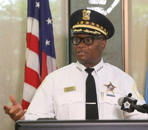 Chicago Police Superintendent David Brown speaks at a news conference on Monday, July 27, 2020 in Chicago. (AP Photo/Teresa Crawford)