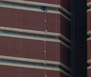 Two inmates escaped from the Oklahoma County jail by tying together bedsheets to use as a rope. (Photo/Dave Morris of The Oklahoman via AP)