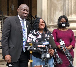 Tamika Palmer, mother of Breonna Taylor, addresses the media in Louisville, Ky. on Thursday, Aug. 13, 2020.