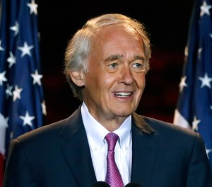 Incumbent U.S. Sen. Edward Markey speaks, Tuesday, Sept. 1, 2020, in Malden, Mass., after defeating U.S. Rep. Joe Kennedy III in the Massachusetts Democratic Senate primary.