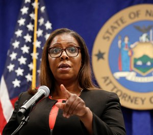 In this Aug. 6, 2020 file photo, New York State Attorney General Letitia James takes a question at a news conference in New York.
