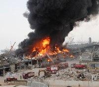 Video: Large fire burning at Beirut port near blast site