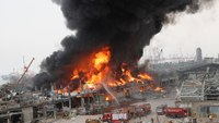 Video: Large fire burning at Beirut port near blast site