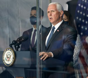 Vice President Mike Pence speaks at a ceremony Friday, Sept. 11 2020, in New York. According to the New York Daily News, Republican Rep. Pete King addressed the issue with Pence after the event, and Pence