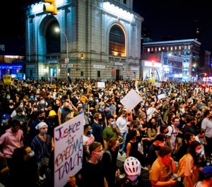 Demonstrators march during a protest, Wednesday, Sept. 23, 2020, in New York, following a Kentucky grand jury's decision not to indict any police officers for the killing of Breonna Taylor. (AP Photo/Eduardo Munoz Alvarez)