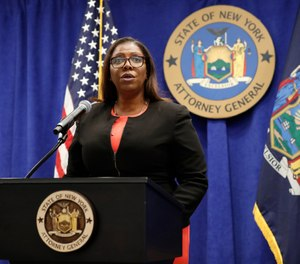 In this Aug. 6, 2020 file photo, New York State Attorney General Letitia James addresses the media during a news conference in New York. (AP Photo/Kathy Willens, File)