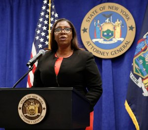 In this Aug. 6, 2020 file photo, New York State Attorney General Letitia James addresses the media during a news conference in New York.