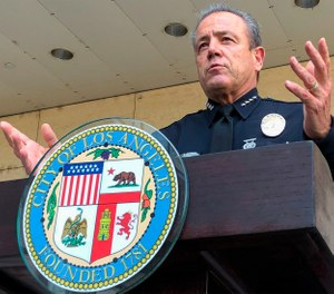 In this Aug. 26, 2020, file photo, Los Angeles Police Chief Michel Moore speaks during a news conference outside LAPD headquarters. (AP Photo/Stefanie Dazio, File)