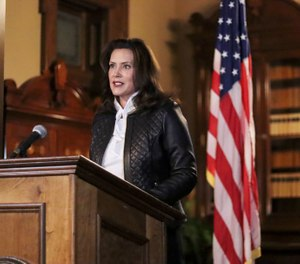 Gov. Gretchen Whitmer addresses the state during a speech in Lansing, Mich., Thursday, Oct. 8, 2020. (Michigan Office of the Governor via AP)