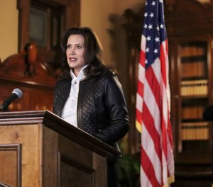 Michigan Gov. Gretchen Whitmer addresses the state during a speech in Lansing, Mich., Thursday, Oct. 8, 2020. (Michigan Office of the Governor via AP)