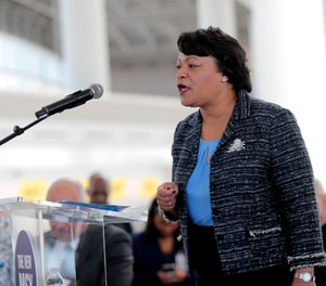 In this Nov. 5, 2019 file photo, New Orleans Mayor Latoya Cantrell speaks at a ribbon cutting ceremony. (AP Photo/Gerald Herbert, File)