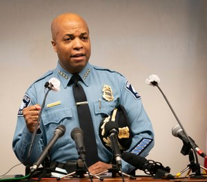 Police Chief Medaria Arradondo speaks during a press conference to announce the Justice Department has put $3 million toward the creation of a national center to help law enforcement agencies prevent the use of excessive force at the Federal Courthouse, Tuesday, Oct. 20, 2020, in Minneapolis.