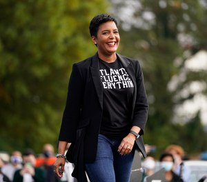 Atlanta Mayor Keisha Lance Bottoms arrives to speak during a drive-in rally in Atlanta, Tuesday, Oct. 27, 2020.