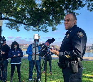 Portland Police Chief Chuck Lovell speaks to reporters about a proposed $18 million in budget cuts to his bureau Thursday, Oct. 29, 2020, in Portland, Ore.