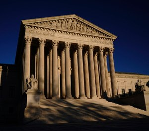 The Supreme Court is seen at sundown on the eve of Election Day in Washington.