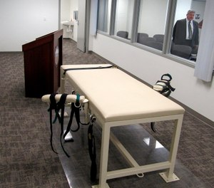 The execution chamber at the Idaho Maximum Security Institution as Security Institution Warden Randy Blades look on in Boise, Idaho.
