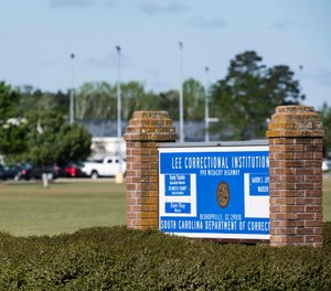 A sign outside the Lee Correctional Institution in Bishopville, S.C.