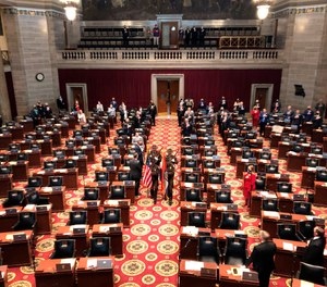 A Color Guard enters the Missouri House chamber to open the 2021 legislative session on Wednesday, Jan. 6, 2021, in Jefferson City, Missouri.