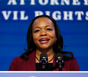 Assistant Attorney General for the Civil Rights Division nominee Kristen Clarke speaks during an event with then-President-elect Joe Biden and Vice President-elect Kamala Harris at The Queen theater in Wilmington, Del., Thursday, Jan. 7, 2021.