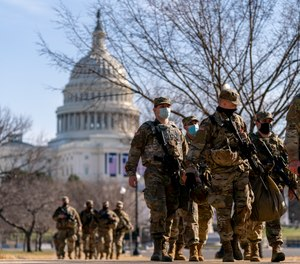 Members of the National Guard patrol outside the Capitol Building in Washington D.C. as part of increased security measures following the Jan. 6 Capitol breach. The National Highway Traffic Safety Administration Office of EMS is urging first responders to prepare for potential civil unrest ahead of the presidential inauguration of Joe Biden on Jan. 20.