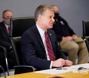 FBI Director Christopher Wray speaks during a briefing at FEMA headquarters, Thursday, Jan. 14, 2021, in Washington.