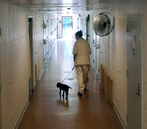 New Jersey's Edna Mahan Correctional Facility inmate Mary Tobin, walking a puppy down a cell block hallway as part of a program called Puppies Behind Bars.