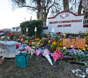 In this Feb. 14, 2019, file photo, Suzanne Devine Clark, an art teacher at Deerfield Beach Elementary School, places painted stones at a memorial outside Marjory Stoneman Douglas High School during the firstr anniversary of the school shooting in Parkland, Fla.
