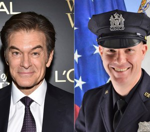 This combination photo shows TV personality Dr. Mehmet Oz, left, and Port Authority Officer Jeffrey Croissant, who came to the aid of a traveler and performed CPR at Newark Liberty International Airport Monday night.