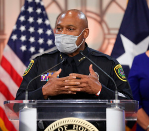 Houston Police Department Executive Assistant Chief Troy Finner speaks during a news conference Thursday, March 18, 2021, in Houston.