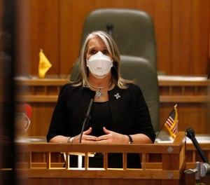 Gov. Michelle Lujan Grisham speaks following the end of New Mexico's annual legislative session on Saturday, March 20, 2021, in Santa Fe, New Mexico.