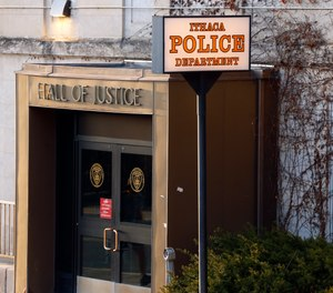 This Monday, March 22, 2021 photo shows the Ithaca Police Department headquarters in Ithaca, N.Y.