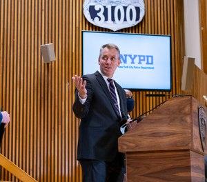New York City police Commissioner Dermot Shea speaks Wednesday, March 31, 2021.