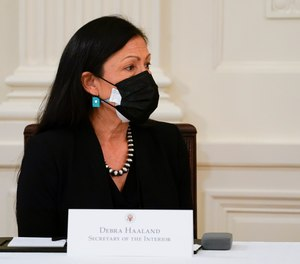 Secretary of the Interior Secretary Deb Haaland attends a Cabinet meeting with President Joe Biden in the East Room of the White House, Thursday, April 1, 2021, in Washington.