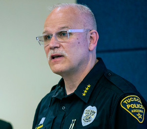 In this June 24, 2020 file photo, Tucson Police Chief Chris Magnus speaks during a press conference in Tucson, Ariz.