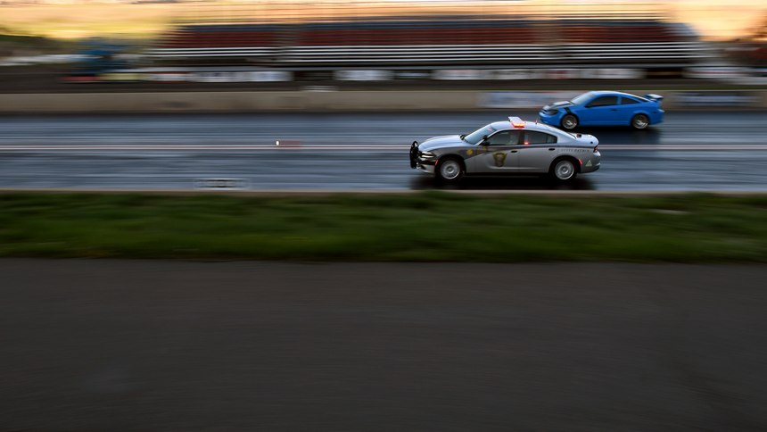 Colorado State Patrol Trooper Josh Lewis races at Bandimere Speedway west of Denver on Wednesday, May 5, 2021.