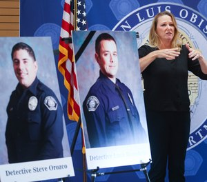 San Luis Obispo police department detective Steve Orozco, left, was wounded and detective Luca Benedetti was killed during a warrant search on Camellia Court Monday, May 11, 2021.
