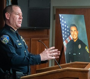 Stockton Police Chief Eric Jones speaks at a news conference at Police headquarters in downtown Stockton about officer Jimmy Inn who was shot and killed in the line of duty while on a domestic abuse call on La Cresta Way in Stockton on Tuesday, May 11, 2021.