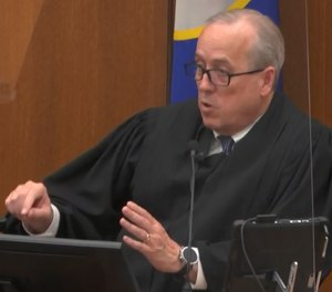 In this April 19, 2021, file image from video, Hennepin County Judge Peter Cahill addresses the court after the judge put the trial into the hands of the jury, in the trial of Chauvin in Minneapolis, Minn.