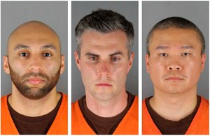 This combination of photos on Wednesday, June 3, 2020, shows from left, former Minneapolis police officers J. Alexander Kueng, Thomas Lane and Tou Thao.