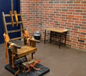 This March 2019, photo, provided by the South Carolina Department of Corrections shows the state's electric chair in Columbia, S.C. The state's new law lets condemned inmates choose between the electric chair or a newly formed firing squad.