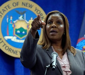 New York Attorney General Letitia James addresses a news conference at her office, in New York, Friday, May 21, 2021.
