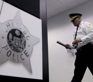 Chicago Police Superintendent David Brown arrives for a press conference at police headquarters, Wednesday, May 26, 2021, in Chicago, on the police department's new draft of a foot pursuit policy.