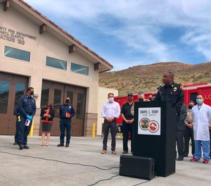 Chief Daryl Osby talks during a news conference about the shooting at a local fire station in Santa Clarita, Calif.