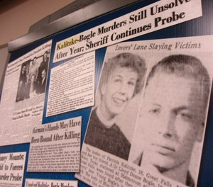 Clippings from the Great Falls Tribune were part of the Cascade County Sheriff's Office investigative file into the 1956 murders of Patricia Kalitzke, 16, and Duane Bogle, 18.