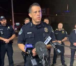 Austin Police Chief Chacon providing an update on overnight shootings in Austin, Texas, early Saturday, June 12, 2021.