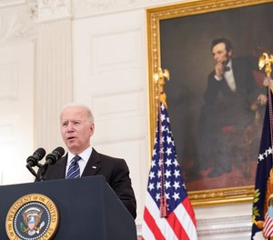 President Joe Biden speaks during an event in the State Dining room of the White House in Washington, Wednesday, June 23, 2021, to discuss gun crime prevention strategy.