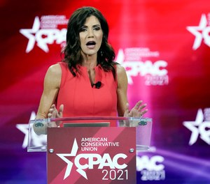 In this Feb. 27, 2021, file photo, South Dakota Gov. Kristi Noem speaks at the Conservative Political Action Conference (CPAC) in Orlando, Fla.